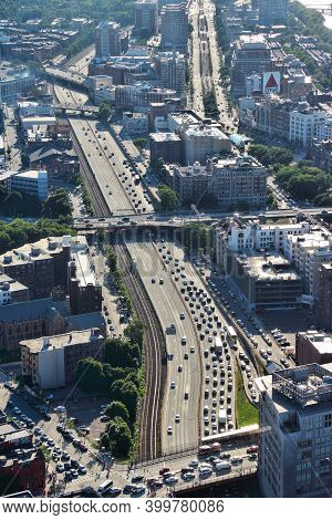 Boston, Usa - June 9, 2013: Aerial View Of Traffic On Massachusetts Turnpike Freeway In Boston. Bost