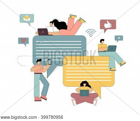 Chat Messaging Concept. Social Networks, Internet Communication. Flat People Use Mobile Smart Phone
