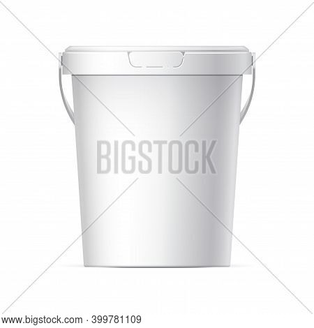 White Plastic Bucket With White Lid. Product Packaging For Food, Foodstuff Or Paints, Adhesives, Sea