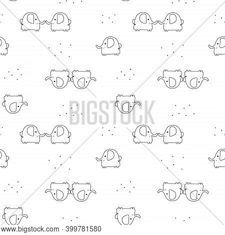 Seamless Pattern With Cute Elephants On A White Background. Vector Background In Childish Style Grea