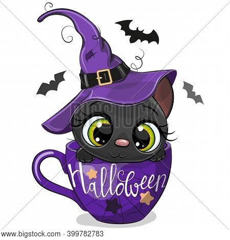 Cute Cartoon Kitten In A Witch Hat Is Sitting In A Cup Of Coffee