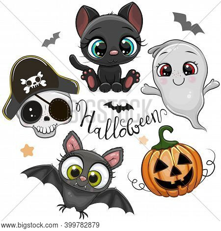Set Of Cute Halloween Illustrations And Design Elements With Batl, Black Cat And Goat