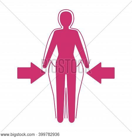 Losing Weight Icon - Diet, Fitness Or Liposaction Logo - Fat Woman Body In Dashed Line And Slim Figu