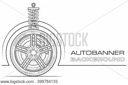 Sport Car Tire Vector Symbol. Car Service Icons, Vehicle Wheel Label. Auto Car Related Banner, Vario