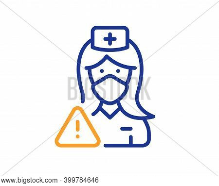 Nurse With Medical Mask Line Icon. Doctor Assistant Sign. Face Protection Symbol. Quality Design Ele