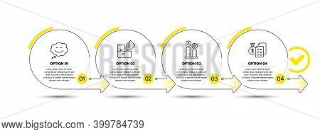 Speech Bubble, Puzzle And Ab Testing Line Icons Set. Timeline Process Infograph. Accounting Wealth S