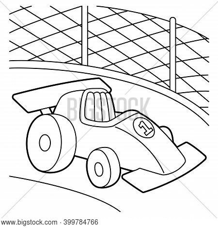 Racecar Coloring Page. Provides Hours Of Coloring Fun For Children. To Color This Page Is Very Easy.