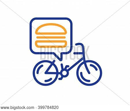 Food Delivery Bike Line Icon. Contactless Meal Order Sign. Grocery Delivery Symbol. Quality Design E
