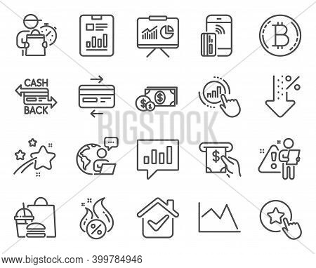 Finance Icons Set. Included Icon As Analytical Chat, Bitcoin, Atm Service Signs. Report Document, Co