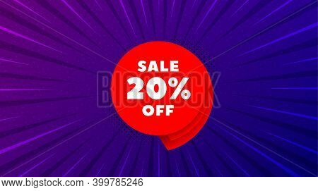 Sale 20 Percent Off Banner. Purple Background With Offer Message. Discount Sticker Shape. Coupon Bub