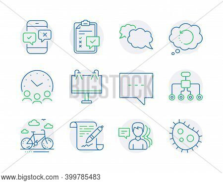 Business Icons Set. Included Icon As Bike Rental, Messenger, Restructuring Signs. Recovery Data, Roa