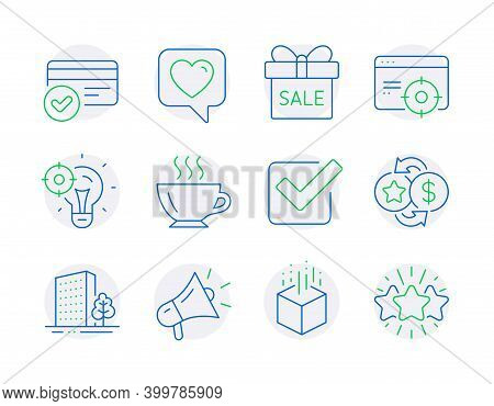 Business Icons Set. Included Icon As Megaphone, Checkbox, Payment Methods Signs. Augmented Reality,