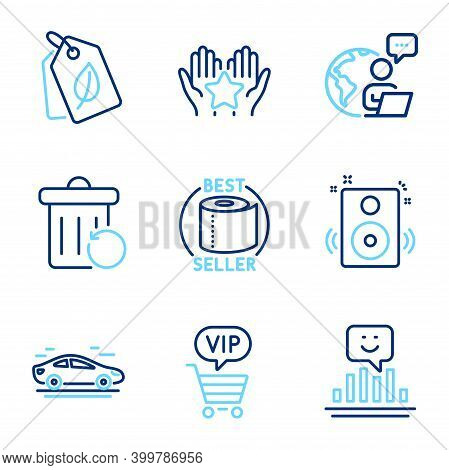 Business Icons Set. Included Icon As Bio Tags, Car, Smile Signs. Toilet Paper, Speakers, Recovery Tr