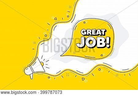 Great Job Symbol. Loudspeaker Alert Message. Recruitment Agency Sign. Hire Employees. Yellow Backgro
