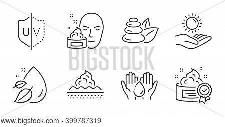 Spa Stones, Water Drop And Wash Hands Line Icons Set. Sun Protection, Cream And Skin Care Signs. Fac