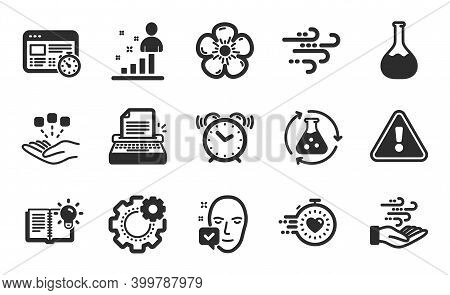 Stats, Alarm Clock And Chemistry Lab Icons Simple Set. Web Timer, Product Knowledge And Consolidatio