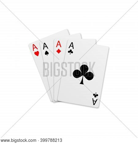 Four Aces. Poker Playing Cards Isolated On A White Background