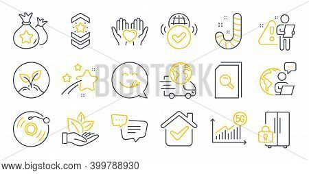 Set Of Business Icons, Such As Delivery Service, Text Message, 5g Statistics Symbols. Hold Heart, Re