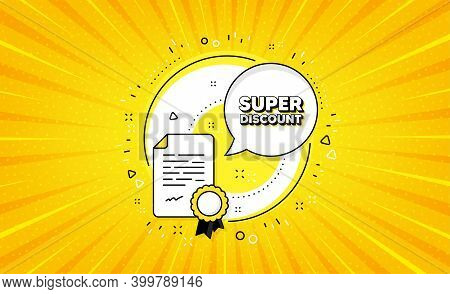 Super Discount Symbol. Yellow Vector Button With Certificate. Sale Sign. Advertising Discounts Symbo
