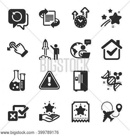 Set Of Business Icons, Such As Time Management, Recovery Data, Drag Drop Symbols. Chemistry Lab, Che