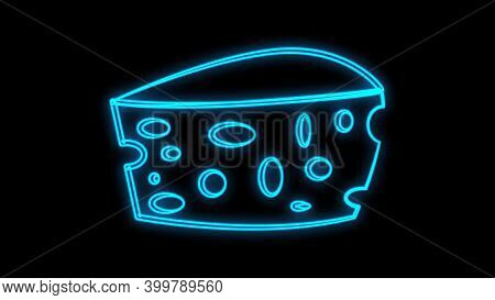 Cheese Piece Neon Light Icon. Organic Dairy Product, Delicious Appetizer. Glowing Sign With Alphabet