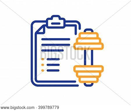 Dumbbell Line Icon. Workout Plan Sign. Gym Fit Report Symbol. Quality Design Element. Line Style Dum