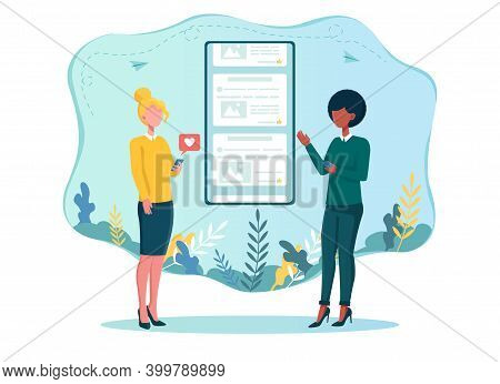 Social Networking. Two Women Use Smartphones To Get Into Social Network. Concept Of Social Interacti