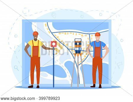 Two Male Geodesy Representatives. Land Surveying Technology. Equipment For Engineering And Topograph