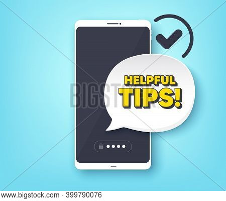 Helpful Tips Symbol. Mobile Phone With Alert Notification Message. Education Faq Sign. Help Assistan