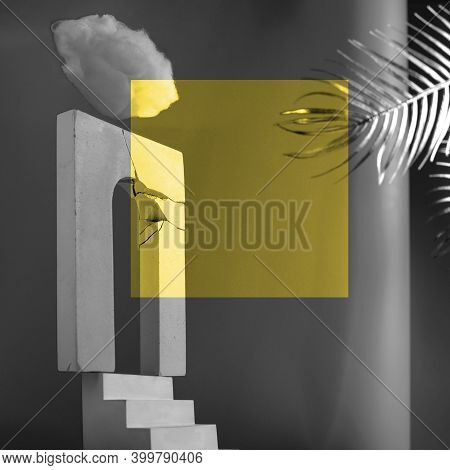 Monumental Composition With A Broken Arch, Stairs, Fan And Palm Leaves. A Concept On The Theme Of Se