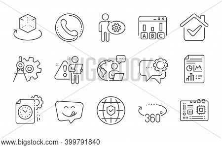 360 Degrees, Survey Results And Cogwheel Dividers Line Icons Set. Report Document, Employees Messeng