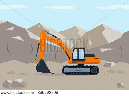 Orange Excavator Digs Soil Near The Mountains. Construction Machinery In Action. Ground Works Concep