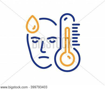 Sick Man With Fever Line Icon. Temperature Thermometer Sign. Flu Illness Symbol. Quality Design Elem