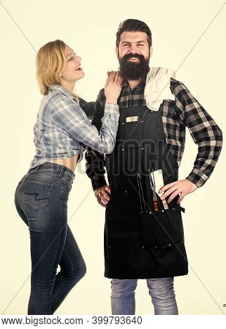 Family Bbq Ideas. Delicious Grilled Recipes. Backyard Barbecue Party. Couple In Love Getting Ready F