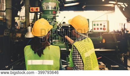 Female Technician, Operator And Female Assistant Operate Control Panel, Drill Machine, Electric Powe
