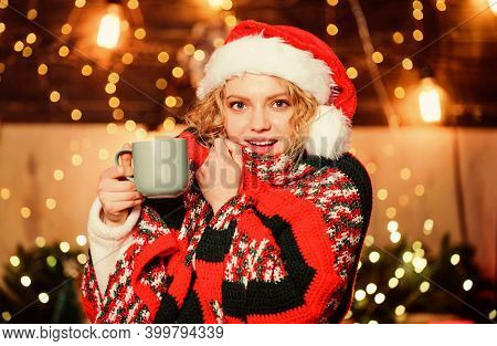 Warm And Cozy. Woman Drink Tea Christmas Decorations Background. Relax And Recharge. Girl With Mug O