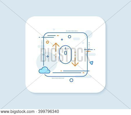 Scroll Down Mouse Line Icon. Abstract Square Vector Button. Scrolling Screen Sign. Swipe Page. Scrol