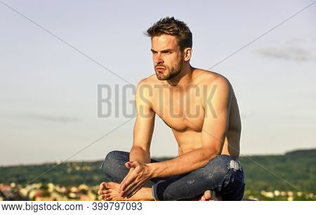 Attractive And Mysterious. Muscular Bare Torso. Summer Season. Fitness Model. Athletic Handsome Mach