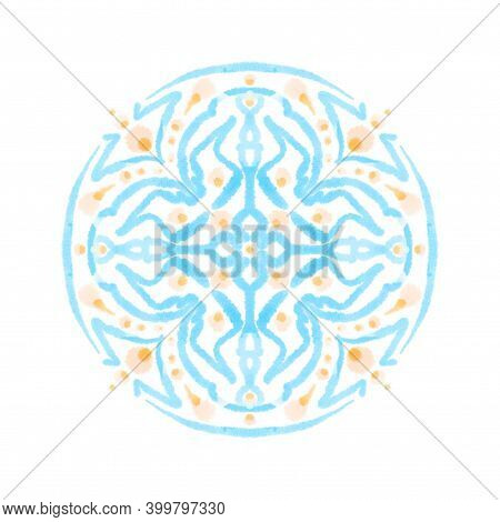 Watercolor Painting Ornamental Circle Block. Blue Pastel Decorative Design Element, Isolated Texture