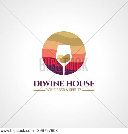 Badges And Labels Elements For Wine Shop, Bar, Restaurant. Logo Template For Alcohol Company. Vector