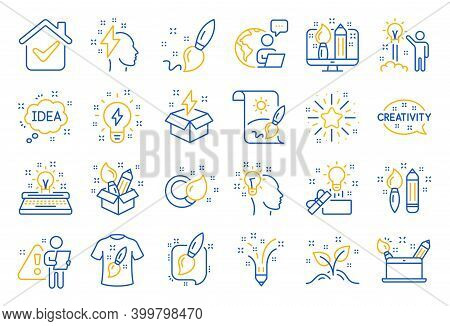 Creativity Brush Line Icons. Set Of Design, Idea And Inspiration Linear Icons. Imagination, Idea Box