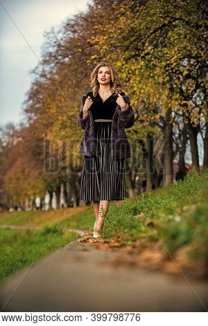 Sexy Woman Red Lips Wear Fur Coat. Luxury Segment Brand. Fur Admirer. Businesswoman In Fur Coat. Fur