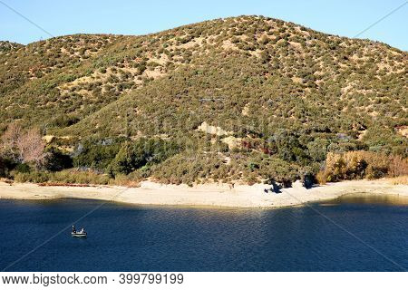 Barren Mountains Covered With Chaparral Plants Besides Sandy Beach Coves Overlooking Silverwood Lake