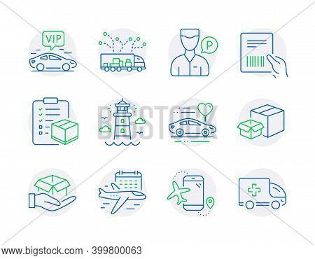 Transportation Icons Set. Included Icon As Flights Application, Lighthouse, Select Flight Signs. Par