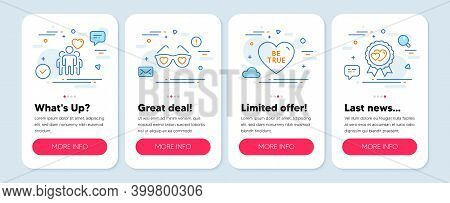 Set Of Love Icons, Such As Love Glasses, Friendship, Be True Symbols. Mobile App Mockup Banners. Lov