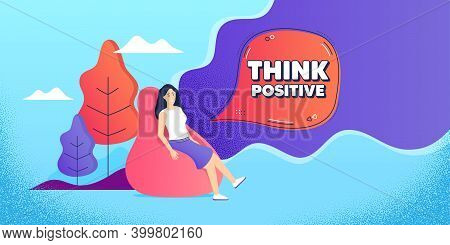 Think Positive Motivation Quote. Woman Relaxing In Bean Bag. Motivational Slogan. Inspiration Messag