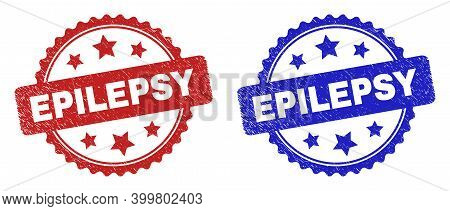 Rosette Epilepsy Seal Stamps. Flat Vector Distress Seal Stamps With Epilepsy Message Inside Rosette