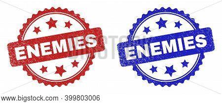 Rosette Enemies Seal Stamps. Flat Vector Textured Seal Stamps With Enemies Title Inside Rosette Shap