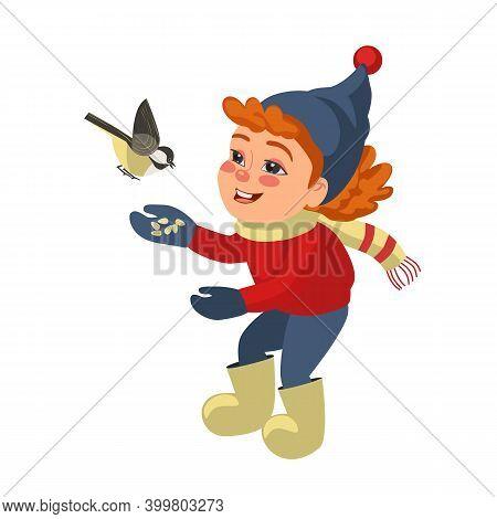 Little Girl Feeding Chickadee Flat Color Hand Drawn Vector Icon. Feed Bird In Winter Day Cute Cartoo