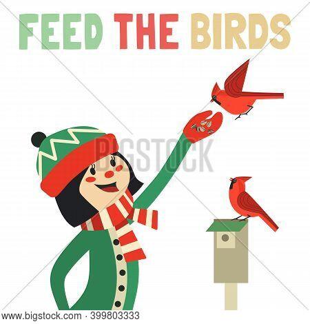 Bird-feeding Flat Vector Poster. Help Wild Birds In Backyard To Survive Concept. Cute Girl Feed Red
